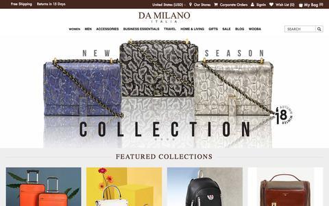 Screenshot of Home Page damilano.com - Designer Handbags and Accessories for Men and Women | DA MILANO - captured Sept. 22, 2018