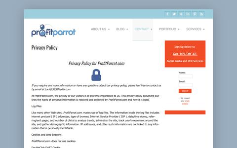 Screenshot of Privacy Page profitparrot.com - Privacy Policy - captured May 23, 2017