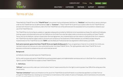 Screenshot of Terms Page tribehr.com - TribeHR Terms of Use | HR Software Monthly Contract - captured Sept. 17, 2014