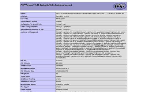 Screenshot of Home Page uplonline.com - phpinfo() - captured Feb. 9, 2020