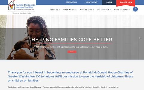 Screenshot of Jobs Page rmhcdc.org - Job Openings – Ronald McDonald House Charities® of Greater Washington, DC - captured Oct. 19, 2018
