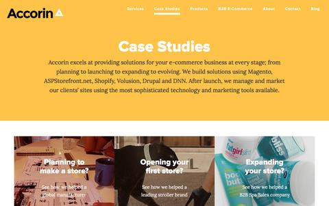 Screenshot of Case Studies Page accorin.com - Accorin Case Studies | Magento and Shopify Examples - captured May 29, 2017