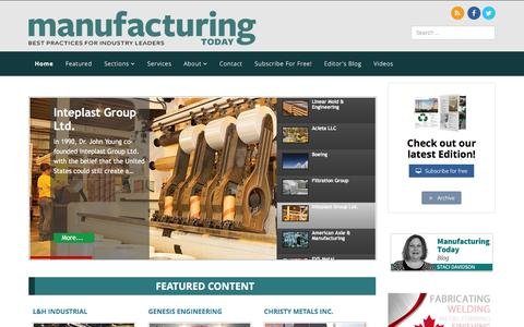 Screenshot of Home Page manufacturing-today.com - Home - Manufacturing Today - captured March 3, 2016