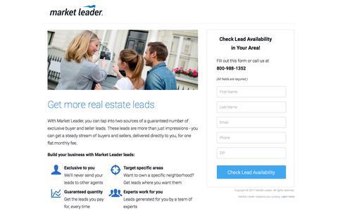Screenshot of Landing Page marketleader.com - Get More Buyer and Seller Leads With Market Leader - captured March 22, 2017