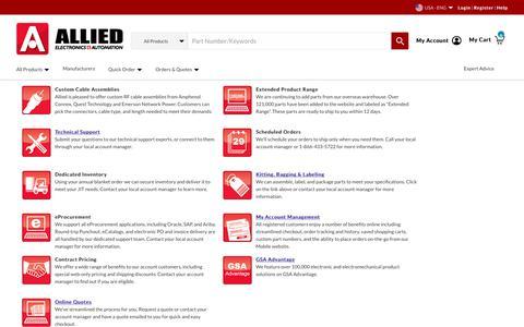 Screenshot of Services Page alliedelec.com - Services - captured Nov. 7, 2019