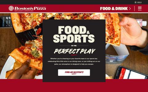 Screenshot of Home Page bostons.com - Boston's Pizza Restaurant & Sports Bar - captured June 25, 2019