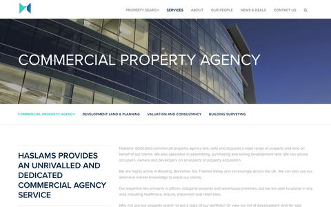Screenshot of Services Page haslams.co.uk - Commercial Property Agency - Haslams | Commercial Property Agency & Consultancy Reading, Haslams - captured July 19, 2017