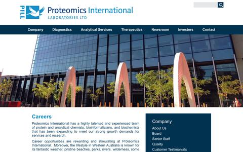 Screenshot of Jobs Page proteomics.com.au - Careers - Proteomics International - captured Sept. 30, 2018