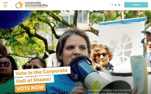 Screenshot of Home Page corporateaccountability.org - Corporate Accountability - Join the Global Campaign - captured Sept. 29, 2018