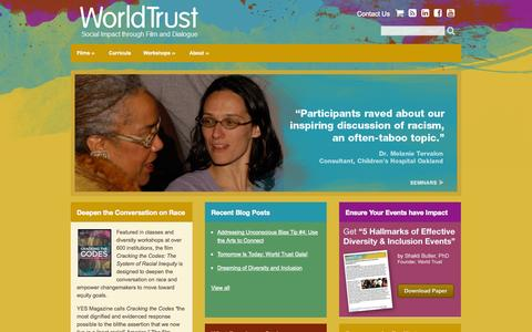 Screenshot of Home Page world-trust.org - World Trust: Social Impact through Film and Dialogue | World Trust - captured Oct. 7, 2014