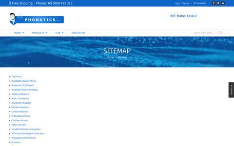 Screenshot of Site Map Page phonatics.co.za - PhonaticsSitemap | Phonatics - captured Sept. 28, 2018
