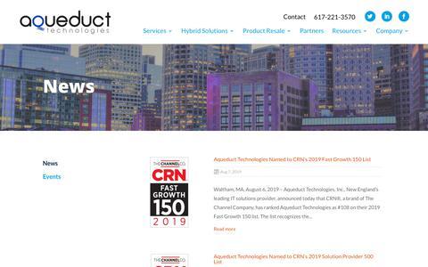 Screenshot of Press Page aqueducttech.com - News - Aqueduct Tech - captured Aug. 15, 2019