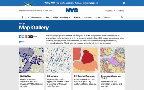 Screenshot of Maps & Directions Page nyc.gov - NYC Maps | City of New York - captured Oct. 23, 2014
