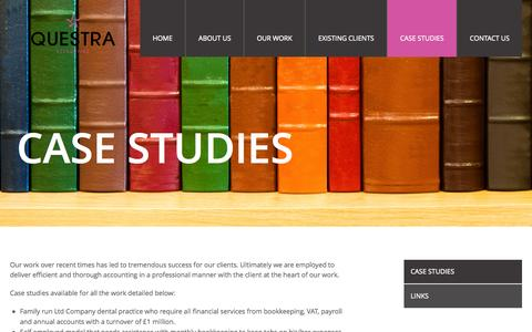 Screenshot of Case Studies Page questraaccounting.co.uk - Case Studies | Questra Accounting - captured Sept. 30, 2014