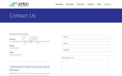 Contact Us | Aeritae