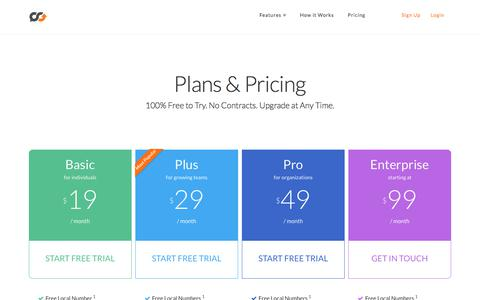 Screenshot of Pricing Page talkroute.com - Pricing - Talkroute - captured June 16, 2017