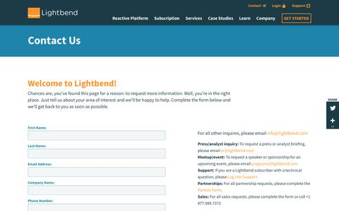 Screenshot of Contact Page lightbend.com - Contact Us | @lightbend - captured Nov. 23, 2016