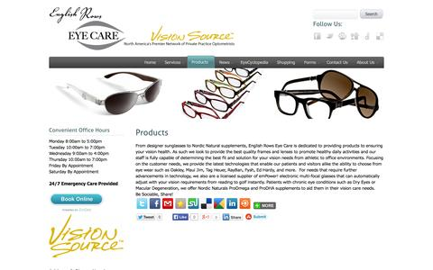 Screenshot of Products Page englishrowseyecare.com - Products - captured Sept. 30, 2014