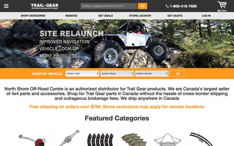 Screenshot of Home Page trail-gear.ca - Trail Gear by North Shore Off-road | 1-800-416-7656 - captured Jan. 9, 2018