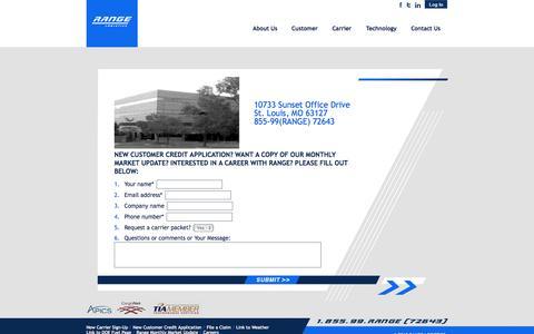 Screenshot of Contact Page Jobs Page rangelogistics.com - Range Logistics - captured Oct. 25, 2014