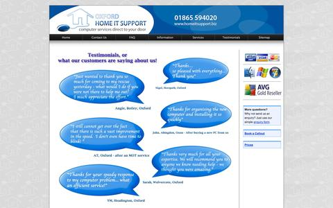 Screenshot of Testimonials Page homeitsupport.biz - Oxford Home IT Support - What our customers are saying about us - captured Oct. 26, 2014