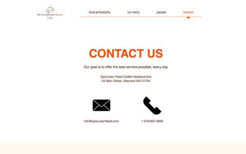 Screenshot of Contact Page epicureanfeast.com - Contact | Epicurean Feast Cafés - captured July 20, 2018