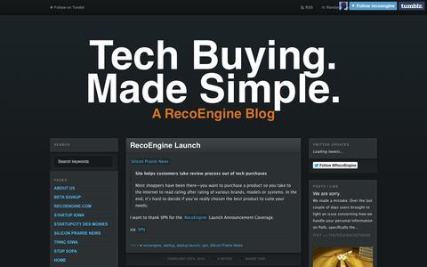 Screenshot of Blog recoengine.com - Tech Buying. Made Simple. - captured Oct. 6, 2014