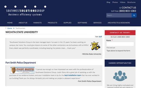 Screenshot of Testimonials Page southwestsolutions.com - Wichita State University - captured Jan. 15, 2016