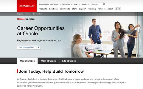 Screenshot of Jobs Page oracle.com - Oracle Careers | Job Search | Oracle - captured Oct. 28, 2014