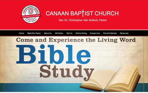 Screenshot of Home Page canaanbc.org - Canaan Baptist Church New Castle Delaware - captured Oct. 18, 2016