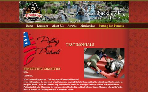 Screenshot of Testimonials Page piratescove.net - Testimonials - captured Oct. 30, 2014