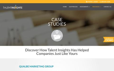 Screenshot of Case Studies Page talentinsights.com - Talent Insights | Case Studies - captured March 4, 2016