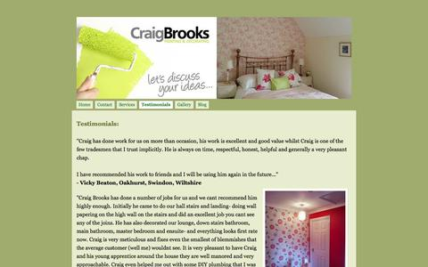 Screenshot of Testimonials Page craigbrooksdecorating.co.uk - Testimonials - Craig Brooks Painting & Decorating - captured Oct. 3, 2014