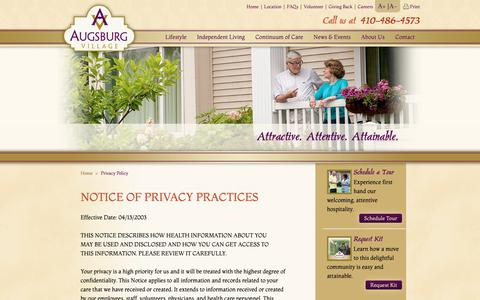 Screenshot of Privacy Page augsburg.org - Privacy Policy - Augsburg Village - captured Oct. 4, 2018