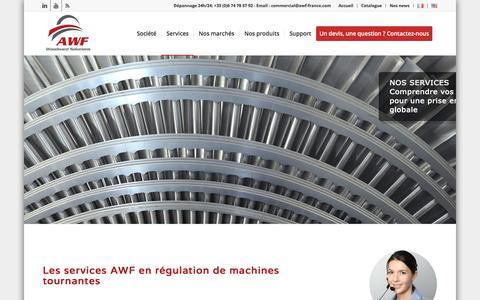 Screenshot of Services Page awf-france.com - Nos services en régulation de machines tournantes | AWF France - captured Oct. 7, 2017