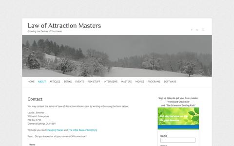 Screenshot of Contact Page law-of-attraction-masters.com - Contact Us | Law of Attraction Masters - captured June 13, 2016