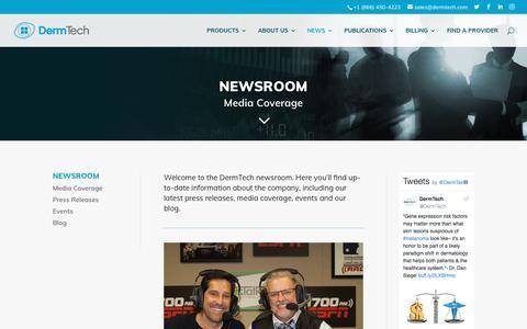 Screenshot of Press Page dermtech.com - Media Coverage   DermTech - captured Aug. 6, 2018