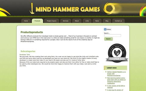 Screenshot of Products Page mindhammergames.com - MHG - Products - captured Oct. 27, 2014