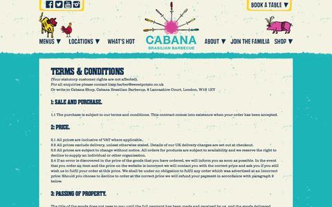 Screenshot of Terms Page cabana-brasil.com - Terms & Conditions - Cabana Brasilian Barbecue - captured Jan. 21, 2016