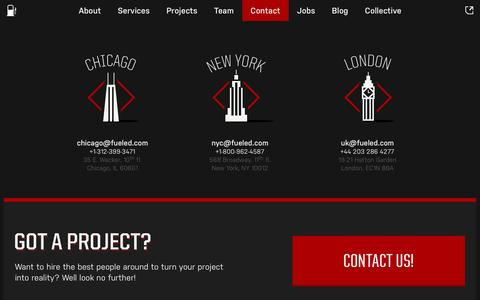Screenshot of Contact Page fueled.com - Contact   Mobile App Design & Development Company in NYC - Fueled - captured Oct. 27, 2014