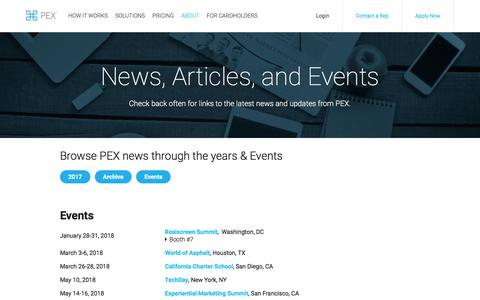 Screenshot of Press Page pexcard.com - PEX News, Articles, and Events | PEX - captured Jan. 7, 2018