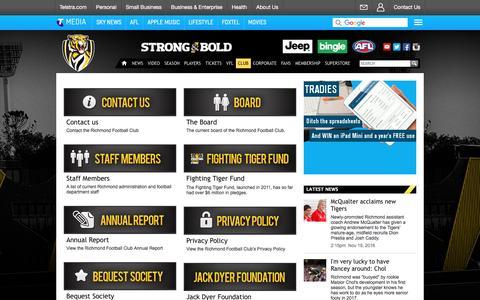 Screenshot of About Page richmondfc.com.au - Club - richmondfc.com.au - captured Nov. 20, 2016