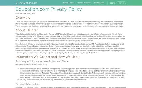 Screenshot of Privacy Page education.com - Privacy Policy | Education.com - captured Jan. 20, 2017