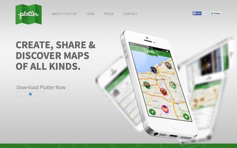 Screenshot of Home Page plotterapp.com - Plotter | A Social App to Create, Share and Discover Maps - captured Oct. 2, 2014