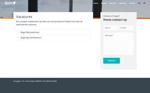 Screenshot of Jobs Page tizin.nl - Vacatures – Tizin - captured Oct. 19, 2018
