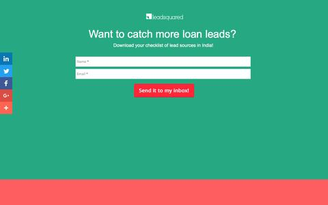 Screenshot of Landing Page leadsquared.com - Loan Leads India | Home Loans | Education Loans | Car Loans - captured Oct. 4, 2016