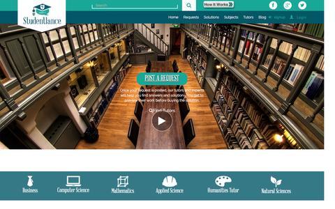 Screenshot of Home Page studentlance.com - Best Online Tutoring & Online Private Tutors -  StudentLance - captured Nov. 6, 2016