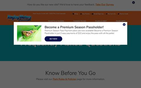 Screenshot of FAQ Page rwsac.com - Frequently Asked Questions & Tips | Raging Waters Sacramento - captured July 3, 2018