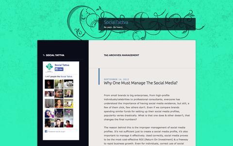 Screenshot of Team Page wordpress.com - management   SocialTattva - captured Oct. 26, 2014