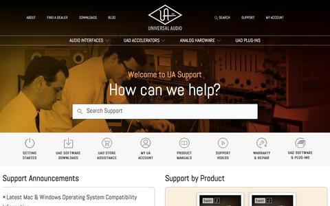 Screenshot of Support Page uaudio.com - Universal Audio Support Home - captured Nov. 1, 2017